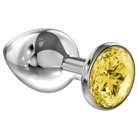Большая серебристая анальная пробка Diamond Yellow Sparkle Large с жёлтым кристаллом - 8 см.
